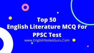 English Literature MCQ For PPSC Test