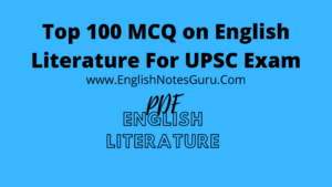 English Literature MCQs For UPSC Exam