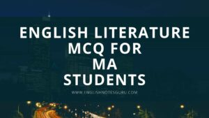 English Literature MCQ For MA Students