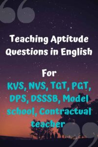 Teaching Aptitude Questions in English
