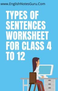 Types of Sentences Worksheet For Class 4 to 12