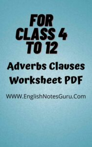 Adverbs Clauses Worksheet With Answers