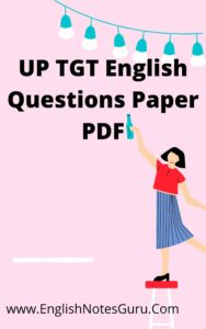 UP TGT English Questions Paper PDF