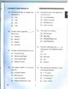 UP PGT English Questions Paper Sample