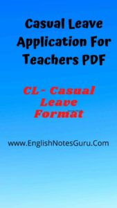 Casual Leave Application For Teachers PDF